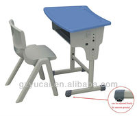 Height adjustable middle school student desk and chair
