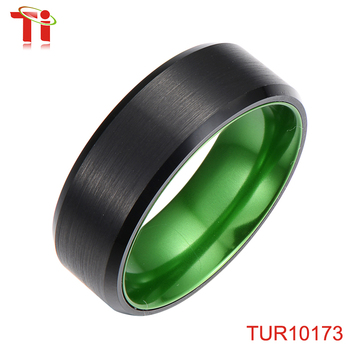 Dongguan Aohua Jewelry TUR10173 green&black new design finger lantern new model ring IP black tungsten & alumina