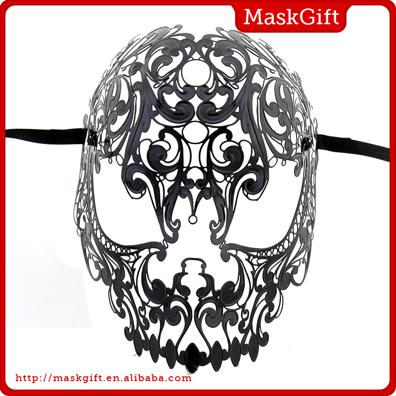 Halloween Design~ Venetian Style Shiny Black Metal Laser Cut Masquerade Party Skull Masks MG004A-BK