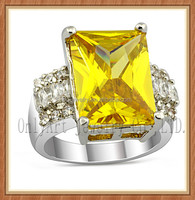 luxurious big yellow cz inlaid silver ring 925 sterling silver ring jewlery