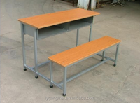 Cheap metal attached school desk and chair with wooden top