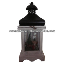 Decorative hanging Christmas wooden candle lantern with black metal roof