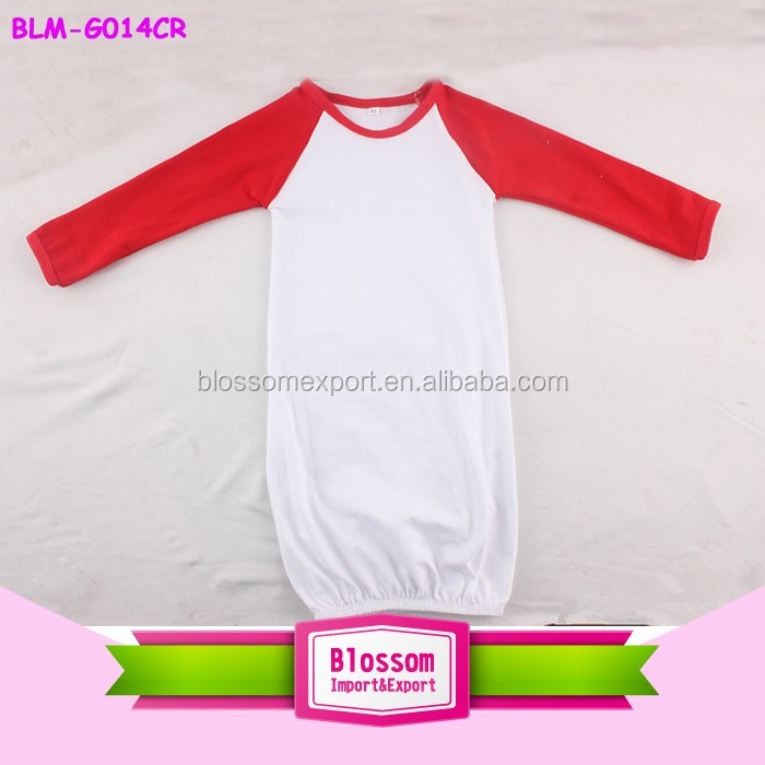 Hot fashion! soft gorgeous girls hot design raglan sleeve cotton baby gown with solid beanie set