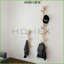 Bamboo Coat Rack 11 Hooks Bamboo Stand Hangers Hat Display Stand Bag Rack for living room wall /Homex-BSCI