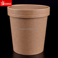 26oz Custom logo printed disposable kraft paper soup bowl