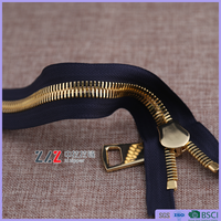 15# double point double polished gold close-end metal zipper, European style slider,garment accessories