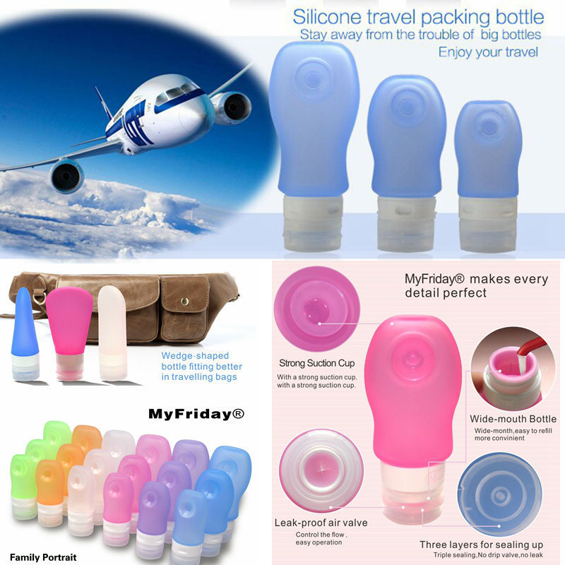 Food Grade, TAS Approved Squeezable Silicone Travel Pink Cosmetic Containers