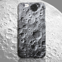 Hot sale full protect color printing 3D effect moon surface plastic cover for iphone 5/6/6 plus