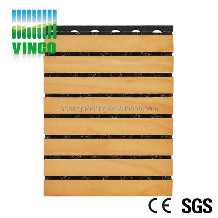 Grooved Wooden Acoustic Sound Insulation Panels MDF Melamine Wall Ceiling Boards