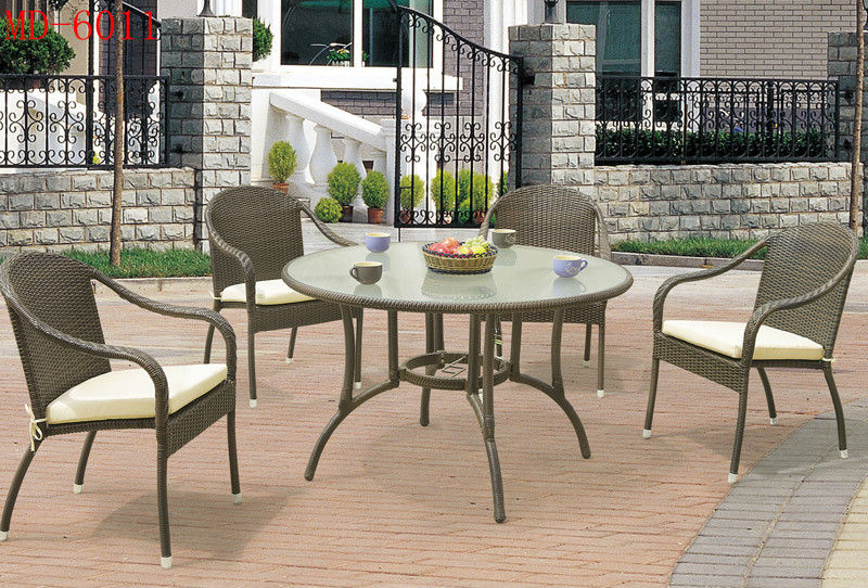 PE Rattan cheap dark Brown 5pcs Wicker roots outdoor furniture