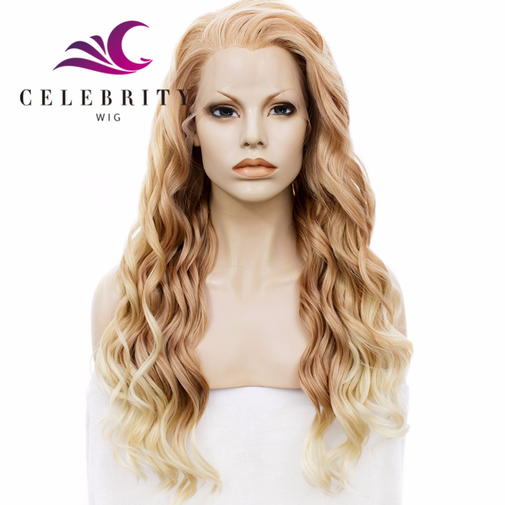 Fashion style synthetic heat resistant fiber long wave blonde hair nature looking synthetic lace front wig