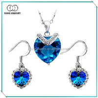 Hot Sale Blue Heart Crystal Jewelry