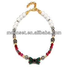 Custom Ruby Emerald Bowknot Bead Strand Necklace