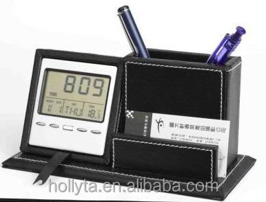 LCD Leather Square Pens Pencils Holder Desktop Stationery Organizer Box