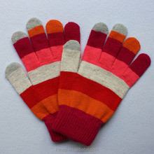 wholesales winter colored cotton knitted mitten striated gloves
