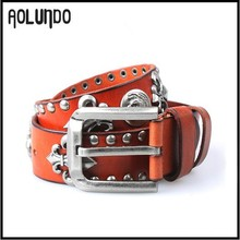 Fancy punk style mens genuine spanish real leather belt