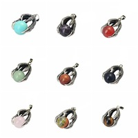Latest Design Big Natural Stone Round Beads Dragon Claw Alloy Pendant design
