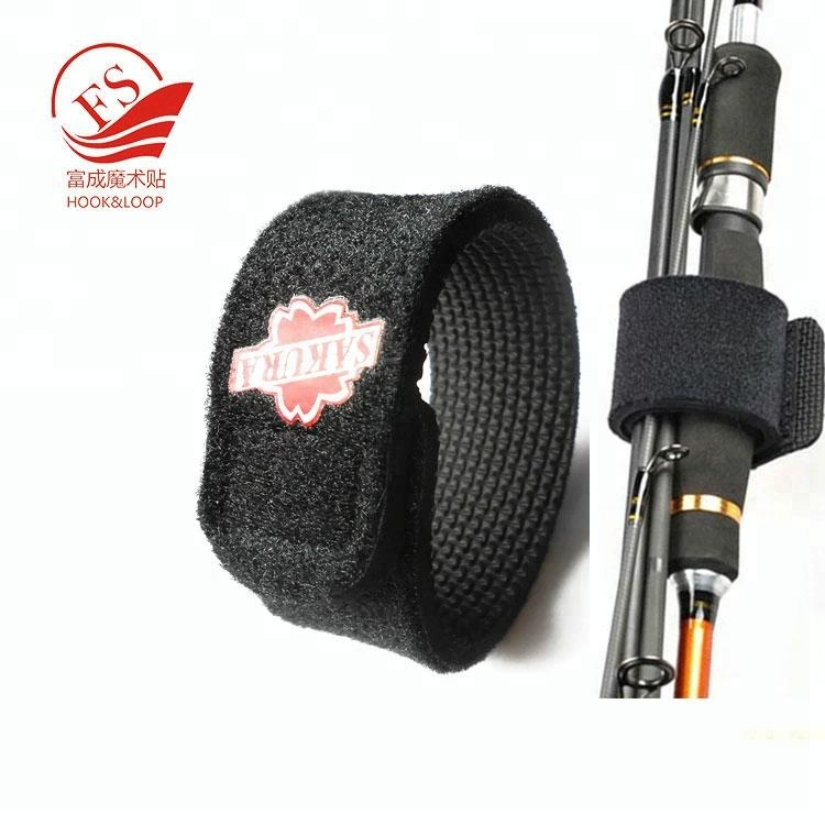 silk printing logo or custom rubber fishing rod holders wrap fish rod ties