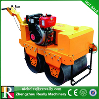 Walking behind road roller,high efficiency double drum vibration roller for sale