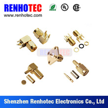 sma right angle female to pcb crimp rf coaxial cable sma connector