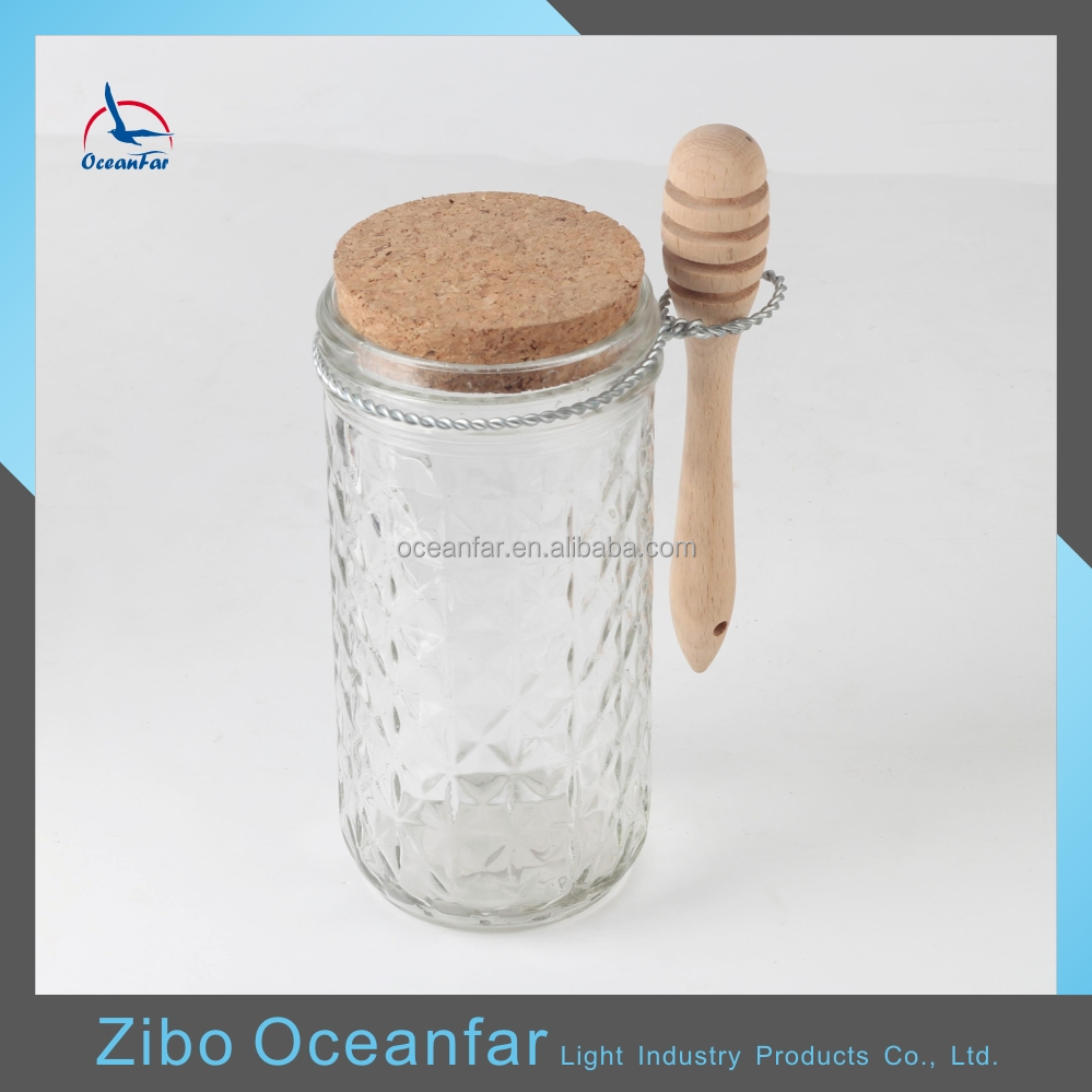 Hot Sale Clear Jam Cork Top Glass Jars Fancy Honey Jars With Wooden Spoon