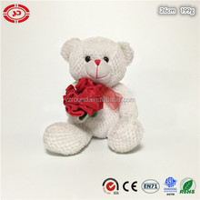 Valentines white fancy teddy bear plush toy with red rose