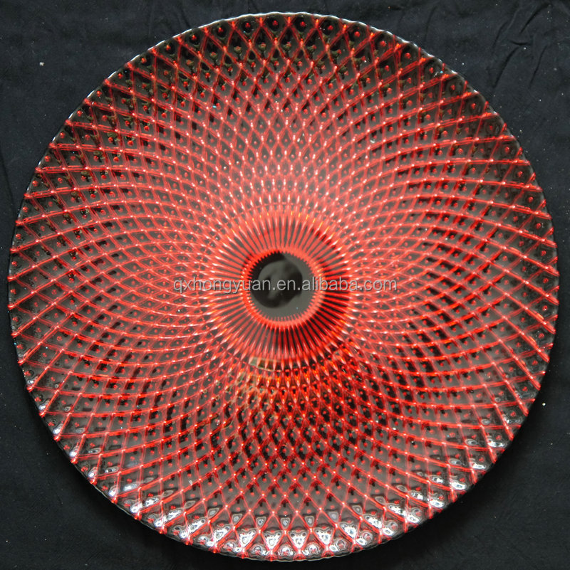 wholesale glass wedding silver gold red charger plates / glass underplate