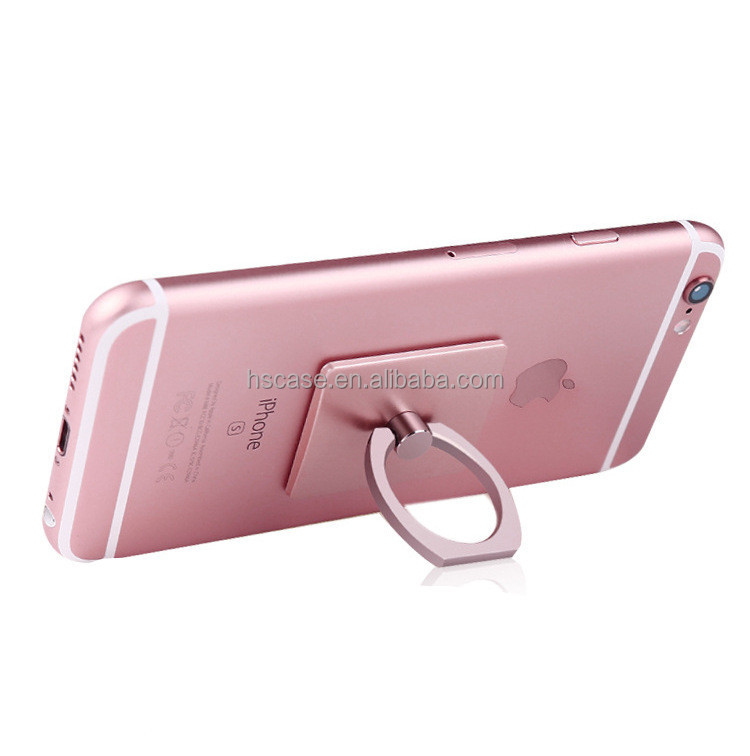 8 colors with ring square shape 360 degree rotating metal cell phone stand for samsung mobile phone and for iphone mobile phone