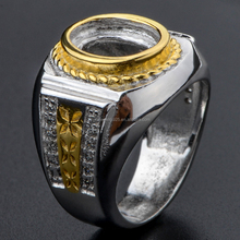 China Alibaba Wholesale White Brass Men's Ring Main Stone Changeable