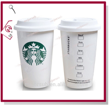 350ml double wall Starbucks travel cup sublimation blank ceramic mug with silicone lid