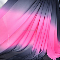 2Y Gradient Chiffon Material For Dress Skirt Black Rose Black Shade Fabric