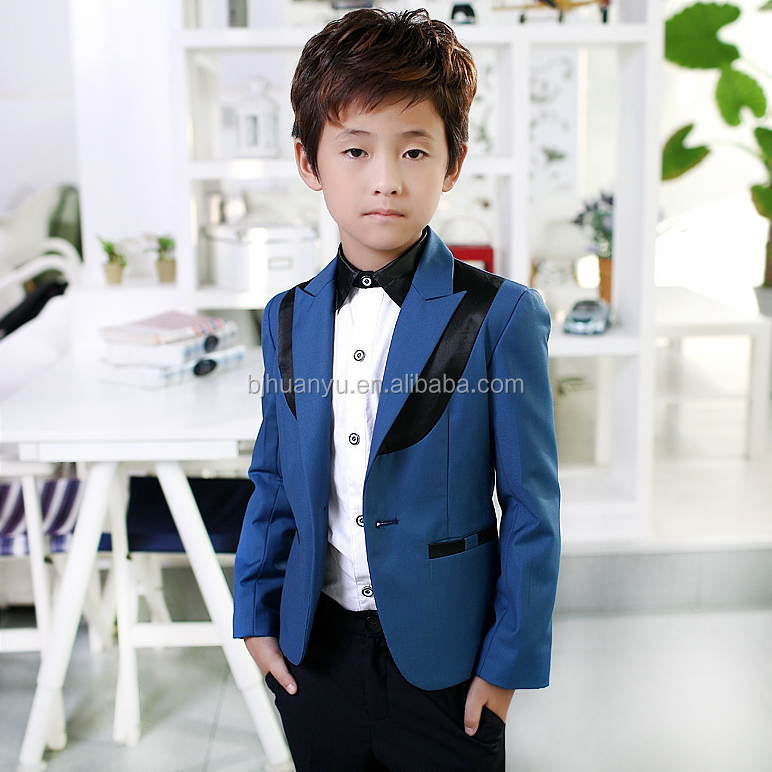 Blue and black color matching suit