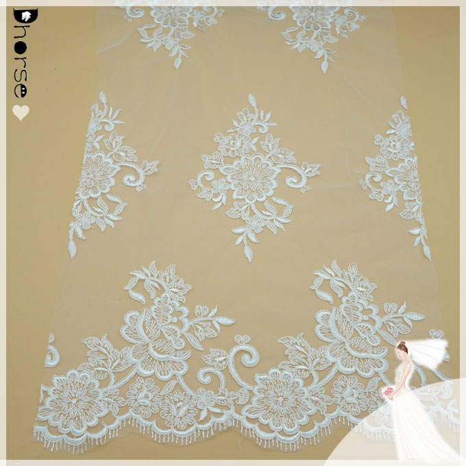"DH-BF453 Delicate 3D Whie Embroidery Bridal Wedding/Baby Dress Yarn Lace Fabric 52""/Yd"