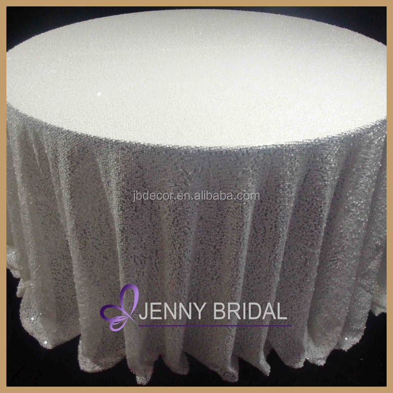 SQN#31 universal wedding decor 120 round white sequin linen tablecloth