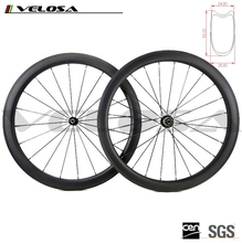 Velosa New Carbon Tubular 50mm Wheels With powerway R36 carbon Hubs Pilar 1432 Striahgt Pull Spokes,Carbon Fiber 25mm Wheelset