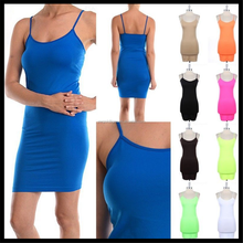 Extra Long Seamless Tunic Dress Slip Camisole Layering Tank Top