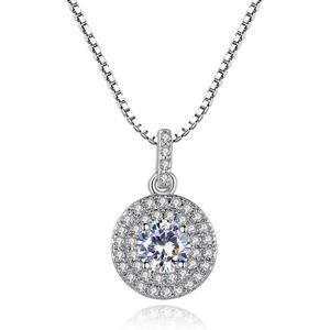 LUOTEEMI AAA Cz Stone Halo Pendant White Gold Plated Cubic Zirconia Pendant Chain Necklace