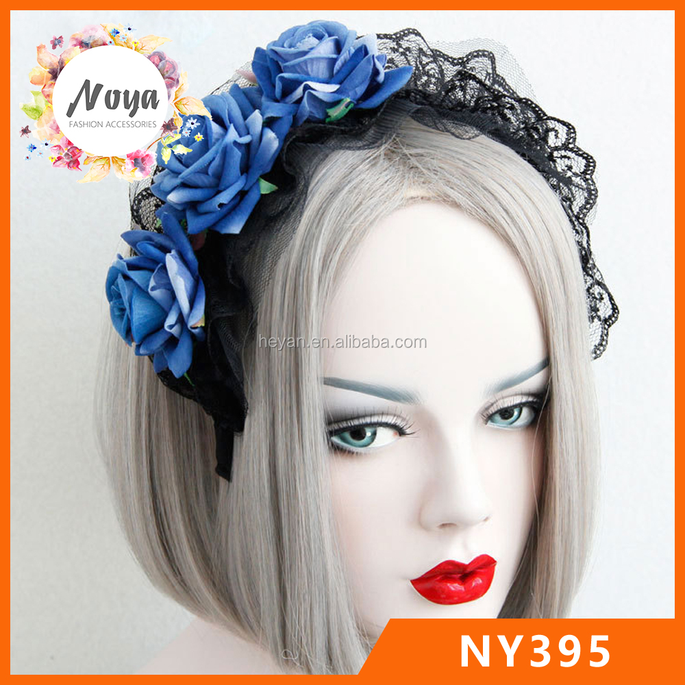 Blue Rose Lace Gothic Lolita maid big headband for women