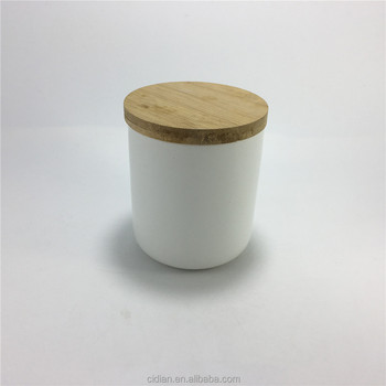 Ceramic candle wax jar with bamboo lid