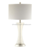 Energy saving glass table lamp with circular fabric lampcover for office/coffee shop/restaurant lighting supply