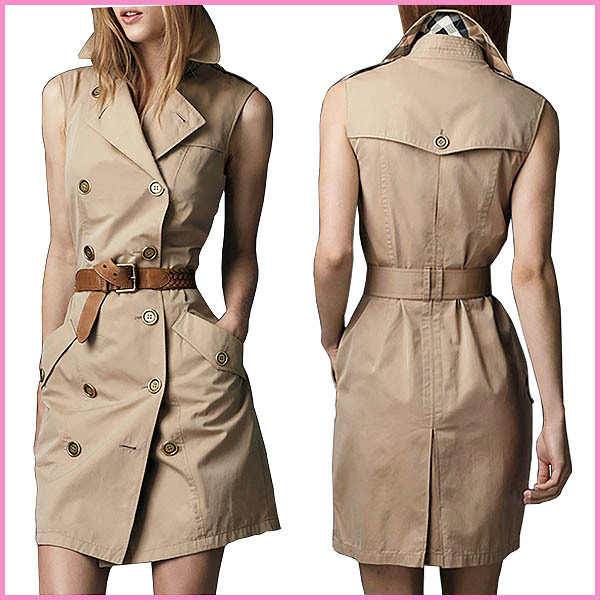 gl0307 fashion sleeveless design trench lady coat,latest model brown coat dress