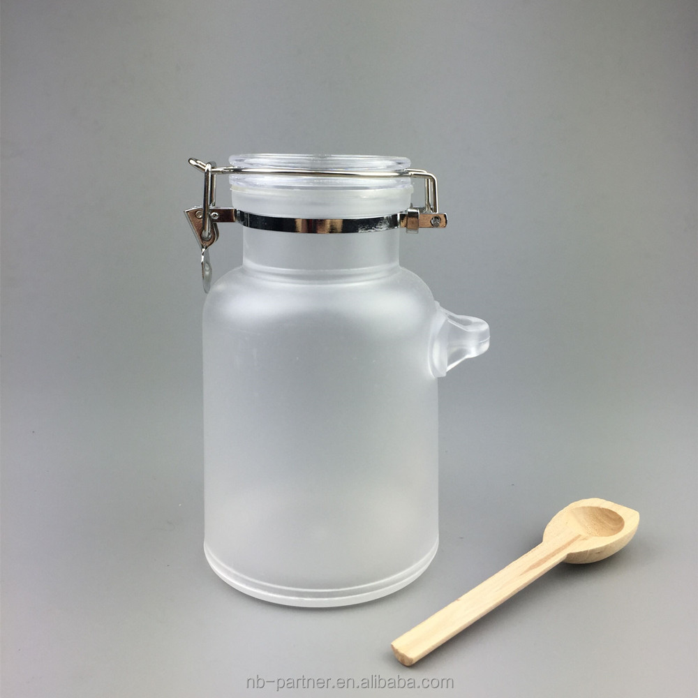 Free samples 100g 200g 300g Bath Salt ABS Plastic Cosmetic Bottles with Wooden Spoon Travel Size