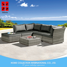 New fashion unique lightweight rattan corner sofa set with tea table and footrest