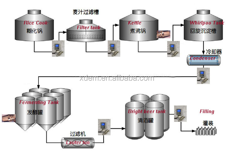 Xdem 200l 1000l Beer Brewery Production Line Top Quality