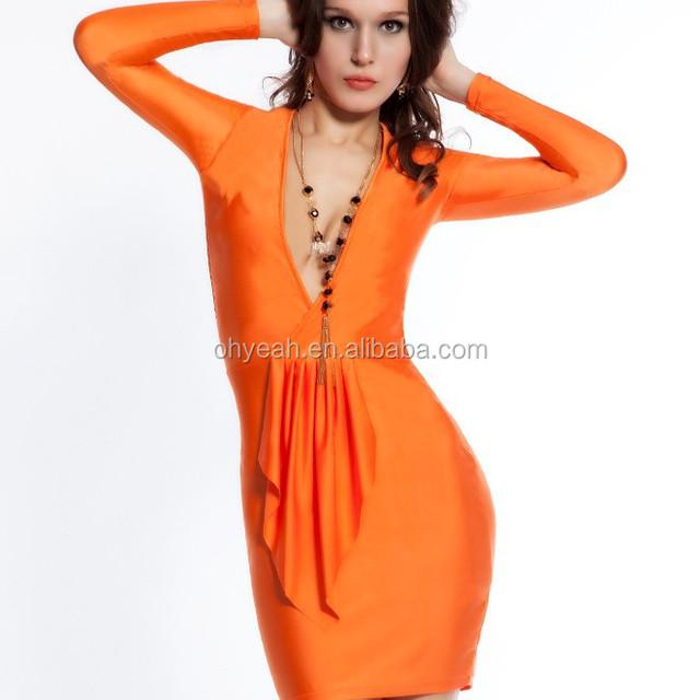 Sexy design v neck orange bodycon dress pattern long sleeve tight dress