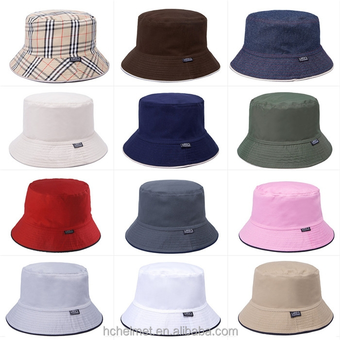 Summer Outdoor Fishing Sun Protection 100% Cotton Reversible Bucket Hat 2015