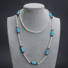 2016 Fashion Jewelry New Arrival 90cm Women Long Turquoise Necklace