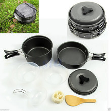Onfine new arrivel 8pcs Outdoor Camping Hiking Cookware Backpacking Cooking Picnic Bowl Pot Pan Set Free shipping Brand