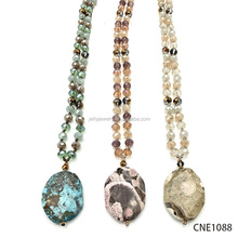 Newest style colorful faceted glass crystal beads natural stone pendant necklace with earrings