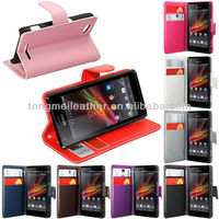 PU Leather Wallet Flip Case For Sony Xperia M C1904 ,Wholesale Leather Case With Credit Card For Sony Xperia M-C1904